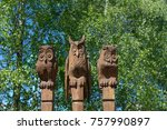 Wooden Owls. Wooden Carving Of...