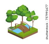 isometric trees and river design | Shutterstock .eps vector #757991677
