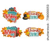 set of thanksgiving greetings   ... | Shutterstock .eps vector #758000053