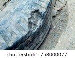automotive tires damage  burst ... | Shutterstock . vector #758000077