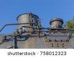 old black retro  vintage steam... | Shutterstock . vector #758012323