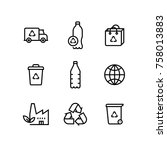 recycle plastic bottle eco icon ... | Shutterstock .eps vector #758013883