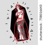 modern sculpture. t shirt... | Shutterstock .eps vector #758016643