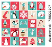 advent calendar and christmas... | Shutterstock .eps vector #758021107