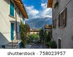 street in the town of limone in ... | Shutterstock . vector #758023957