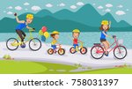 Happy Family. Cycling Along Th...