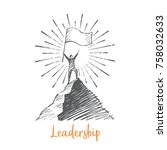 leadership. a man stands on top ... | Shutterstock .eps vector #758032633