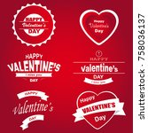 set of typographic valentines... | Shutterstock .eps vector #758036137