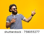 Bearded Young Man In Striped T...