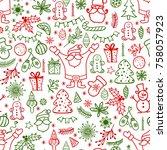 christmas decoration doodle... | Shutterstock .eps vector #758057923