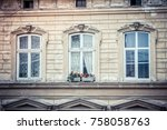 three ancient windows | Shutterstock . vector #758058763