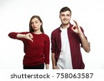 displeased young woman in... | Shutterstock . vector #758063587