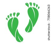foot made by green leaves ... | Shutterstock .eps vector #758066263