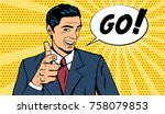 vector business man telling go... | Shutterstock .eps vector #758079853