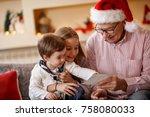 grandpa with grandchildren...   Shutterstock . vector #758080033