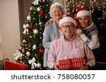 christmas portrait of... | Shutterstock . vector #758080057