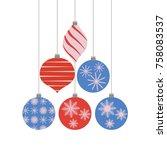 set of christmas tree... | Shutterstock .eps vector #758083537