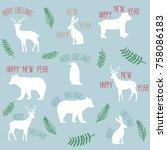 xmas slogans merry christmas... | Shutterstock .eps vector #758086183