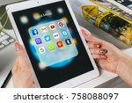 sankt petersburg  russia ... | Shutterstock . vector #758088097