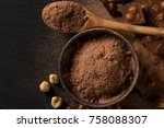 broken chocolate nuts pieces... | Shutterstock . vector #758088307