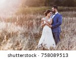 beautiful bride and groom in... | Shutterstock . vector #758089513