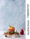 homemade burger in classic bun...   Shutterstock . vector #758090737