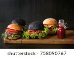 set of homemade burgers in...   Shutterstock . vector #758090767