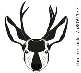 deer head image for retro... | Shutterstock .eps vector #758092177