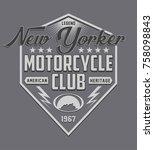 motorcycle typography  tee... | Shutterstock .eps vector #758098843