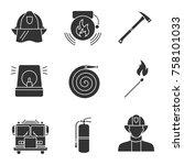 firefighting glyph icons set....   Shutterstock .eps vector #758101033