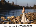 beautiful bride portrait ... | Shutterstock . vector #758103877