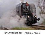steam locomotive  historic... | Shutterstock . vector #758127613