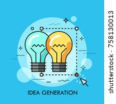 two light bulbs selected with... | Shutterstock .eps vector #758130013