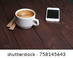 top view of cup of coffee with... | Shutterstock . vector #758145643