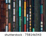 top view of colorful cargo... | Shutterstock . vector #758146543
