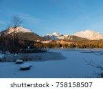 sunset in hight tatras. evening ... | Shutterstock . vector #758158507