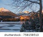 sunset in hight tatras. evening ... | Shutterstock . vector #758158513