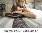 young woman in hammam or... | Shutterstock . vector #758160517