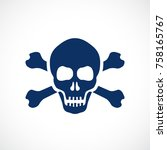 human skull and bones danger... | Shutterstock .eps vector #758165767