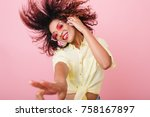 close up portrait of adorable... | Shutterstock . vector #758167897