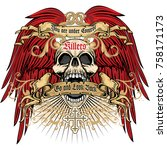 gothic coat of arms with skull  ... | Shutterstock .eps vector #758171173