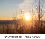 sunset over snowy panorama of... | Shutterstock . vector #758172403