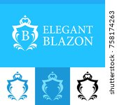 set of elegant blazons in blue... | Shutterstock .eps vector #758174263