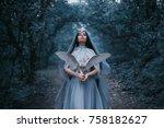 mysterious sorceress in a... | Shutterstock . vector #758182627