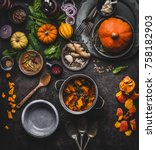 autumn and winter cooking and... | Shutterstock . vector #758182903