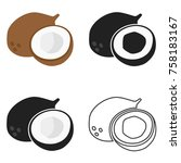 coconut icon in four variants.... | Shutterstock .eps vector #758183167