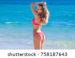 beautiful young woman in sexy... | Shutterstock . vector #758187643