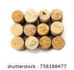 collection of used wine corks...   Shutterstock . vector #758188477