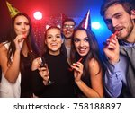 friends making big party in the ... | Shutterstock . vector #758188897