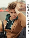 young stylish man with a... | Shutterstock . vector #758196457